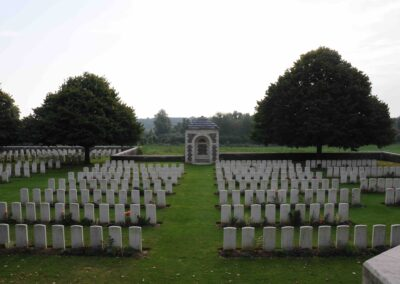 La Chapelette British and Indian Cemetery,Peronne, France, where 607 Private James Scott M.M. and Bar is buried.