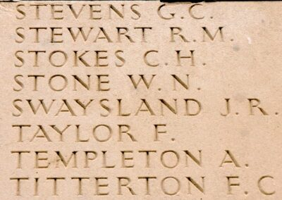 The wall of the Australian National Memorial, Villers-Bretonneux, where 2905 Private John Swaysland is remembered with honour.